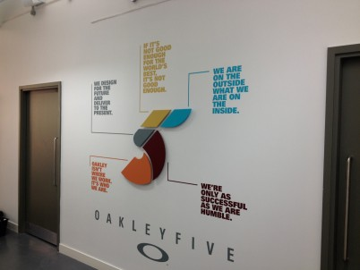 Oakley Five - CNC cut MDF spray painted shapes and individually cut self adhesive vinyl lettering and logo